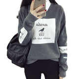 Printed Hoodies Women Loose Round Neck Fleece Tracksuits Pullover Cool Sweatshirt - shopADON