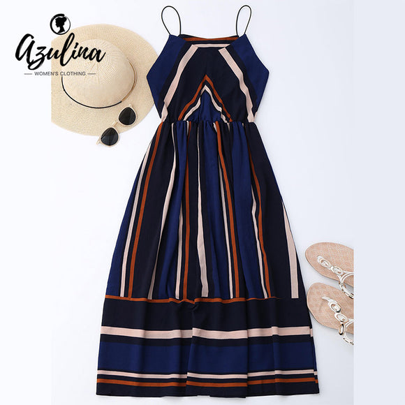 AZULINA Casual Striped Beach Dress Women Sexy Sleeveless Spaghetti Strap Midi A Line Summer Party Dress 2018 Sundress Vestidos - shopADON