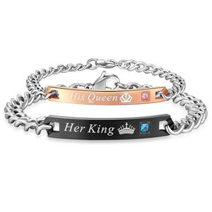 Her King His Queen Couple Bracelets Stainless Steel Crytal