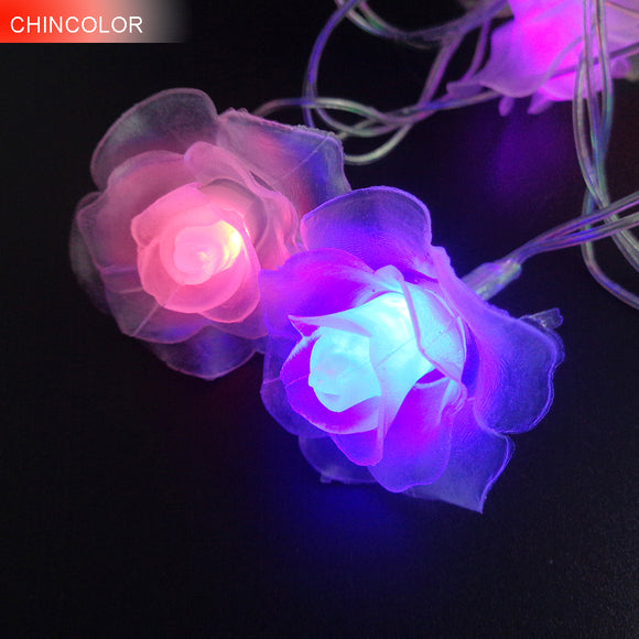 LED String Lighting nightlight Garland 3-4M 20Leds Rose Flower AC / AA Power Valentine's Day Party Wedding Christmas Fairy W - shopADON