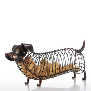 Tooarts Metal Animal Figurines Dachshund Wine Cork Container Modern Artificial Iron Craft