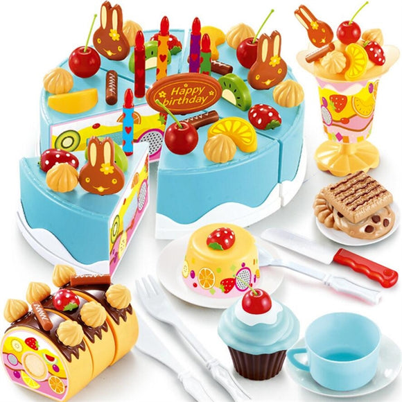 37-75Pcs Birthday Cake Toy DIY Fruit Cream Christmas Gift Set Children Kids Pretend Play Toys set Gift For Girls - shopADON