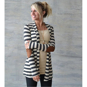 Women's Trench Elegant Coats Casual Long Sleeve Striped Cardigans Patchwork Outwear