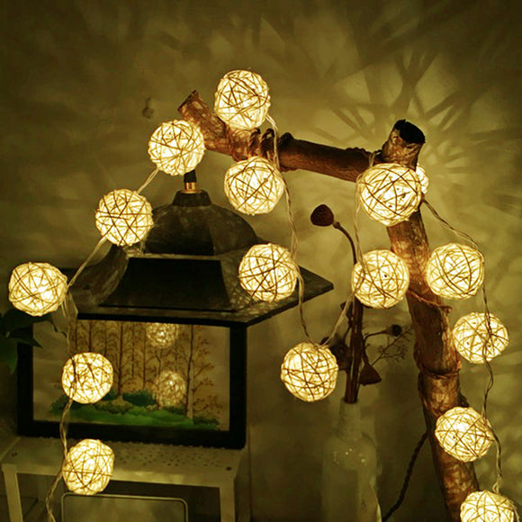 Ball LED String Light Warm White Fairy Light Holiday Light For Party Christmas Wedding Decoration Battery Operated 2M Rattan - shopADON