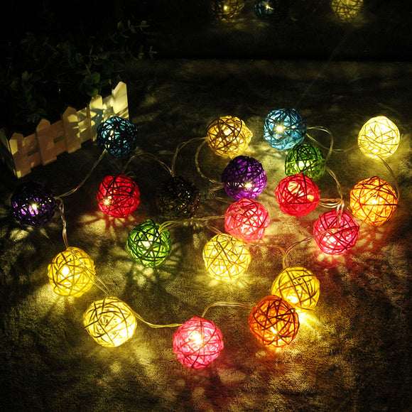 2M LED String Light Warm White 20 LED Rattan Ball String Lights - shopADON