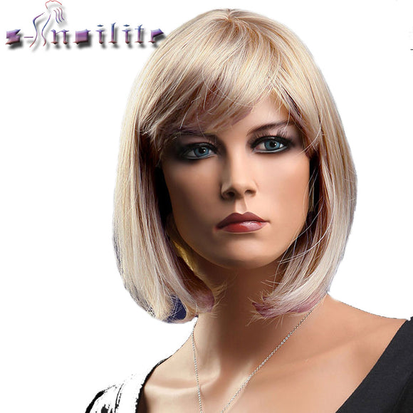 Short Blonde Red Bob Hair Wig - shopADON