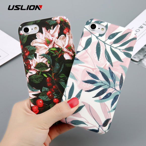 Flower Cherry Tree Hard PC Phone Cases Candy Colors Leaves Print Cover For iPhone 6 6s 7 8 Plus