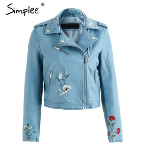 Embroidery faux leather coat Motorcycle zipper leather jacket - shopADON