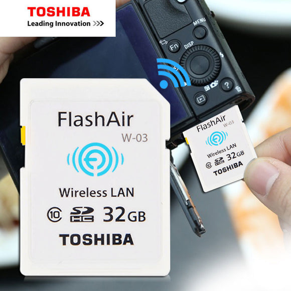 TOSHIBA Flash Air W-03 Memory Card 32GB 16GB wifi SD Card Class 10 Wireless SDHC Memory Card