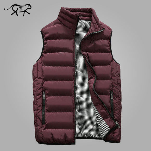 Autumn Vest Men Fashion Stand Collar Men's Sleeveless Jackets Slim Fit Cotton Pad Coats  Winter Waistcoats - shopADON