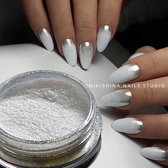 Silver Mirror Magic Pigment Powder Manicure Dust Shiny Gel Polish Nail Art - shopADON