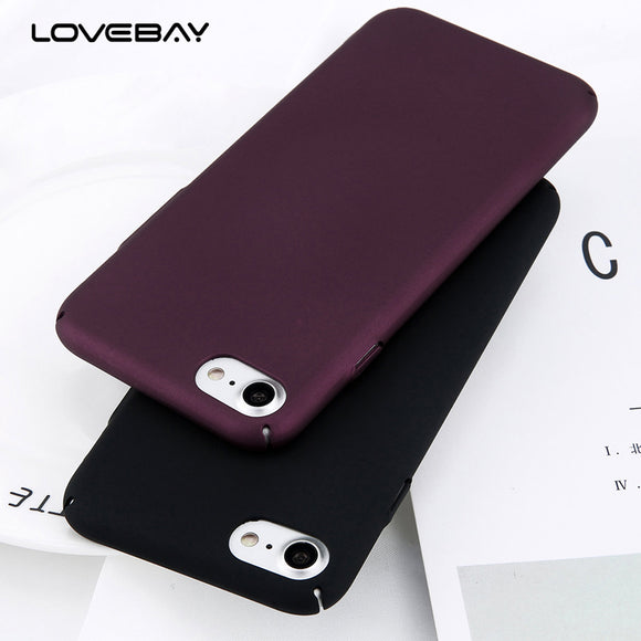 Phone Case For iPhone 6 6s 7 8 Plus Simple Plain Wine Red Frosted Matte PC Back Cover