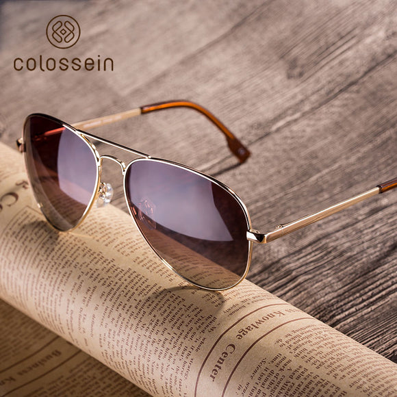 Pilot Style Sunglasses Vintage Oval Lens Classic Brown Driving Adult Fashion Eyewear - shopADON