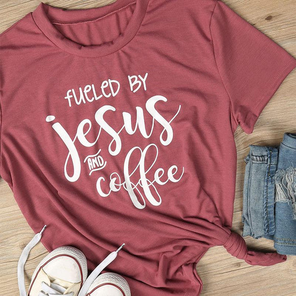 Women Red Tee By Jesus And Coffee Printed Short Sleeve T Shirt - SHOPADON