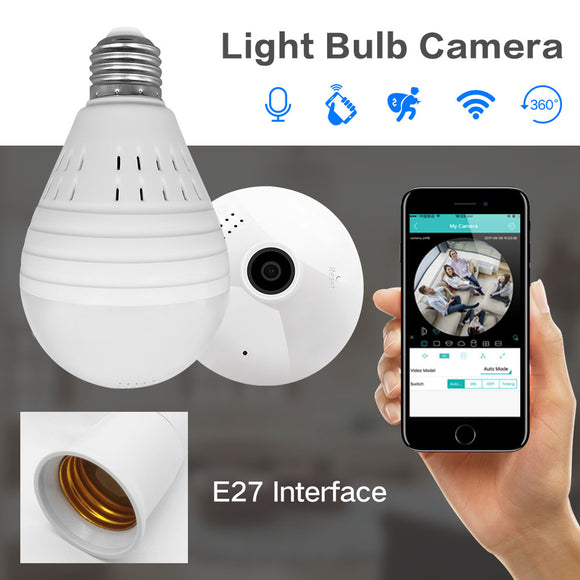 Bulb Lamp Wireless IP Camera Wifi 960P Panoramic CCTV Camera 360 Degree Night Vision 128GB - shopADON
