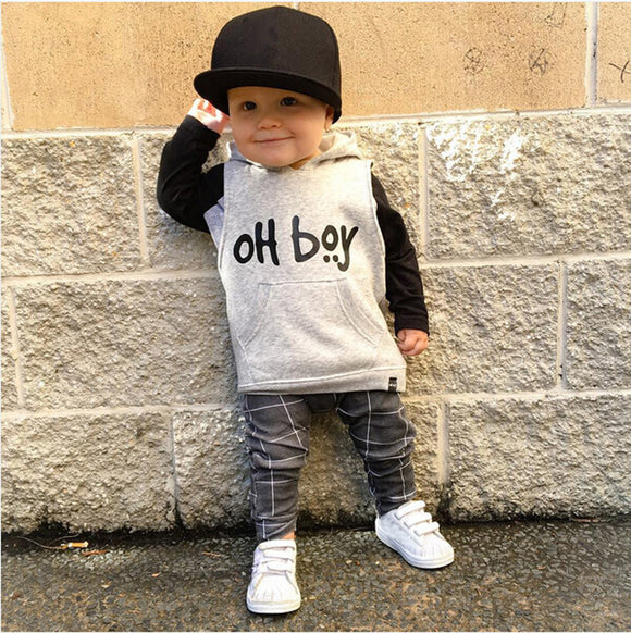Toddler Infant Baby Girl Boy Clothes Set Fashion Hooded Tops+Pants Outfits - shopADON