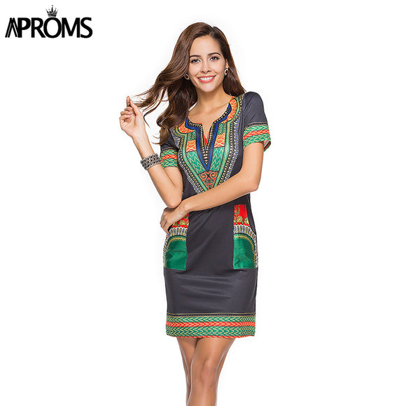 V Neck Pocket Patchwork Tunic Dress Women Summer Robe African Print - shopADON