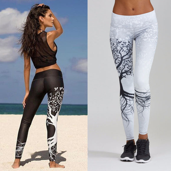 Women Printed Sports Yoga Workout Gym Fitness Exercise Athletic Pants - shopADON