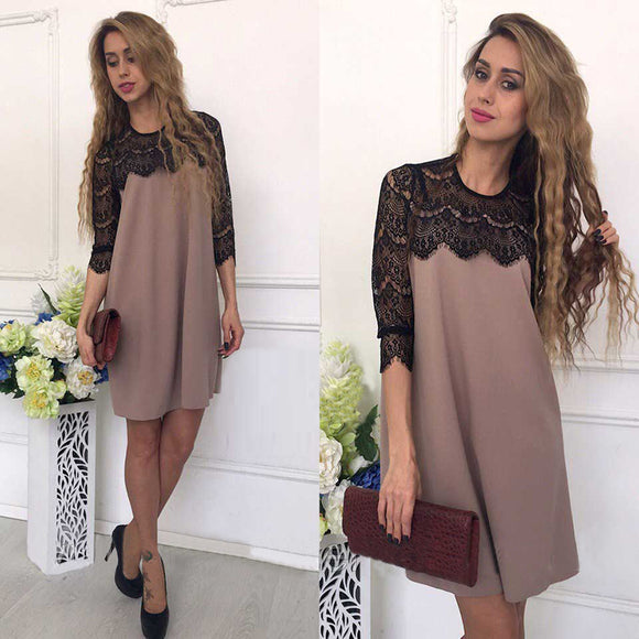Summer Fashion Lace Stitching Hollow Out Straight Dress Three Quarter Sleeves - SHOPADON