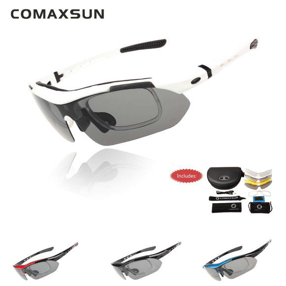Polarized Cycling Glasses Bike Goggles Outdoor Sports Bicycle Sunglasses UV 400 With 5 Lens - shopADON