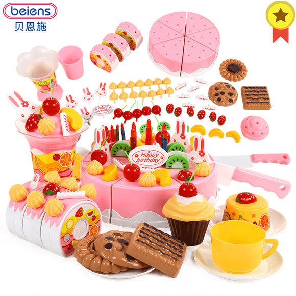 Kitchen Toys  Play Cutting Birthday Cake 42-75pcs  Children Educational Fruits Cut Food For Girls - shopADON