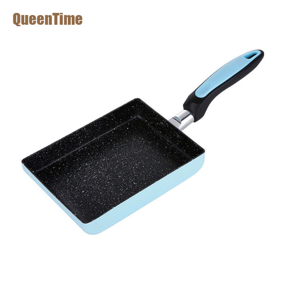 QueenTime Professional Jade Burner Square Frying Pan Aluminum Alloy Non-Stick Chef Grill Pans Non-Smoke Pan Cooking Accessories - shopADON