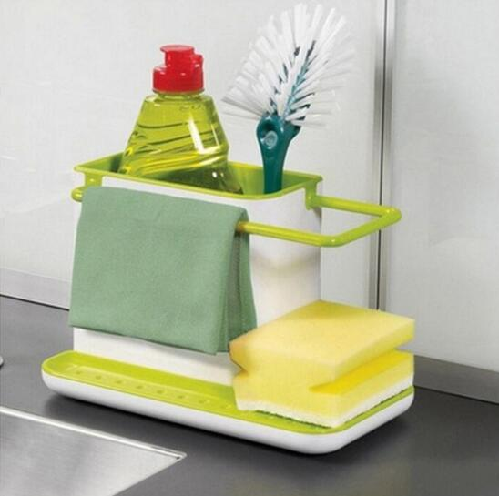 Sponge Kitchen Box Draining Rack Dish Self Draining Sink Storage Rack - shopADON