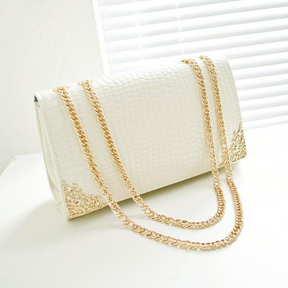 Crocodile lines handbags, gold color chain retro women messenger bags - shopADON
