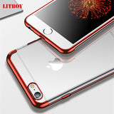Plating Clear Case For iPhone 6 6s 7 8 X Case Transparent Silicon Soft TPU Cover Silm - shopADON