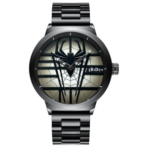 Fashion Sytlish Men Casual Watch Red Spider Stainless Steel  Wristwatch 2018 Black Unique - shopADON
