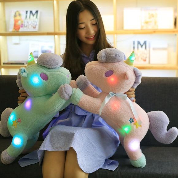 New LED Unicorn Pony Plush Toys & Animal Dolls Molluscs Toys & Glow Toys & Stuffed Toys Boys & Girls Birthday Gifts - shopADON