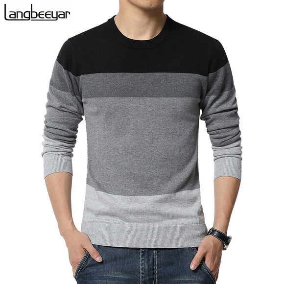 Autumn Fashion Brand Casual Sweater O-Neck Striped Slim Fit Knitting Mens Sweaters And Pullovers - shopADON