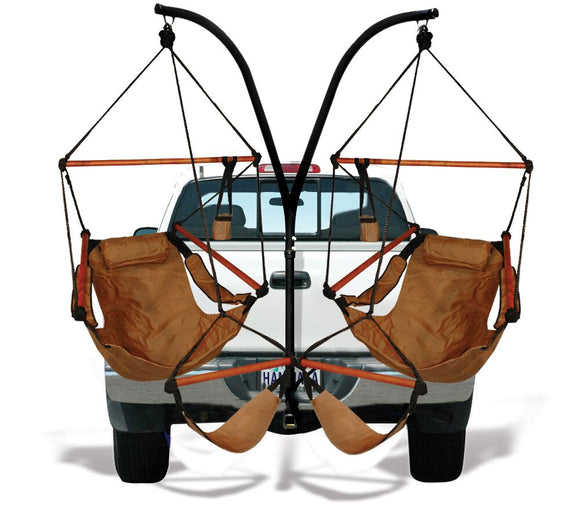 Hammaka Trailer Hitch Stand with Natural Tan Hammaka Chairs Combo - shopADON