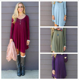 Women Loose V-neck Long-sleeved Dresses - shopADON