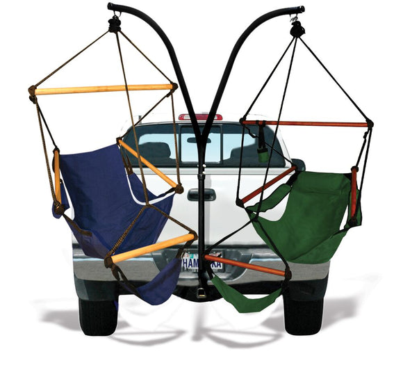 Hammaka Trailer Hitch Stand Combo - One Midnight Blue Hammaka Cradle Chair and One Hunter Green Hammaka Chair (Wood Dowels) - shopADON