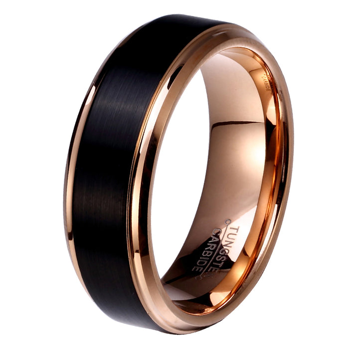 Black & Rose Gold Color Tungsten Carbide Wedding Ring