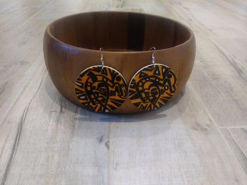 Wooden with African Print Earrings #4