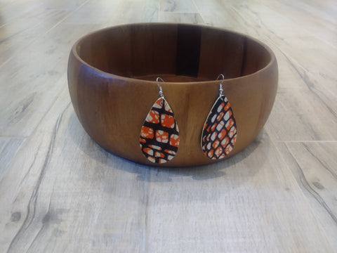 Wooden with African Print Earrings #6