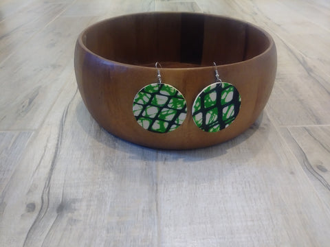 Wooden with African Print Earrings #7