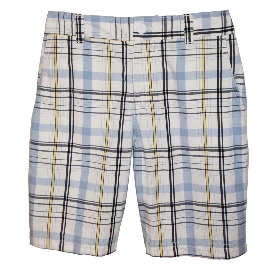 Arctic Ice Plaid Shorts 1/2 Elastic