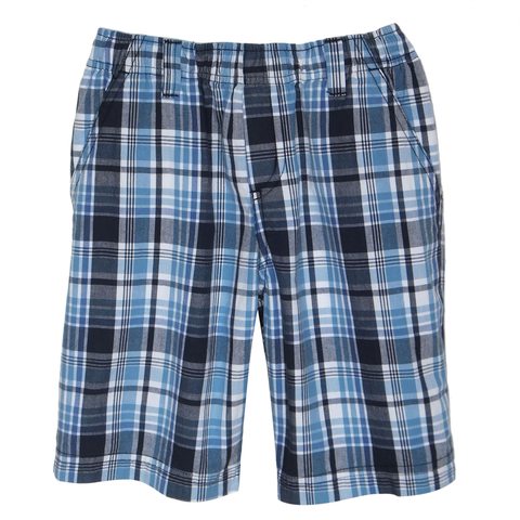 Boys Navy Plaid Shorts Full Elastic - Size 8H Only
