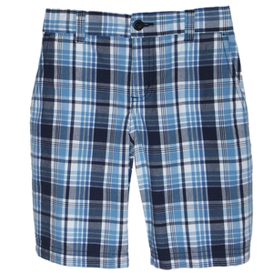 Navy Plaid Shorts 1/2 Elastic