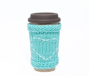 Travel Mug - Eco Friendly Reusable Coffee Cup Made Of Rice Husk With Handmade Cozy Knitting Heart - Blue & Grey 450ml