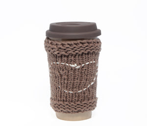 Travel Mug - Eco Friendly Reusable Coffee Cup Made Of Rice Husk With Handmade Cozy Knitting Heart - Brown & Grey 450ml