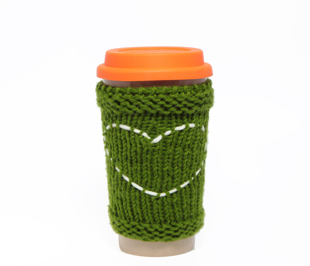 Travel Mug - Eco Friendly Reusable Coffee Cup Made Of Rice Husk With Handmade Cozy Knitting Heart - Green & Orange 450ml