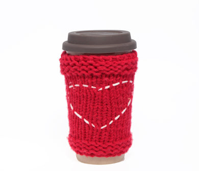 Travel Mug - Eco Friendly Reusable Coffee Cup Made Of Rice Husk With Handmade Cozy Knitting Heart - Red & Grey 450ml