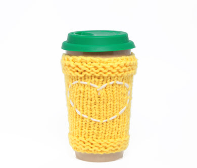 Travel Mug - Eco Friendly Reusable Coffee Cup Made Of Rice Husk With Handmade Cozy Knitting Heart - Yellow & Green 450ml