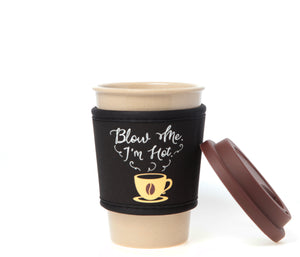 Travel Mug - The Original Eco Travel Mug Made Of Rice Husk With Silicone Lid & Neoprene Message Sleeve - 380ml / I'm Hot
