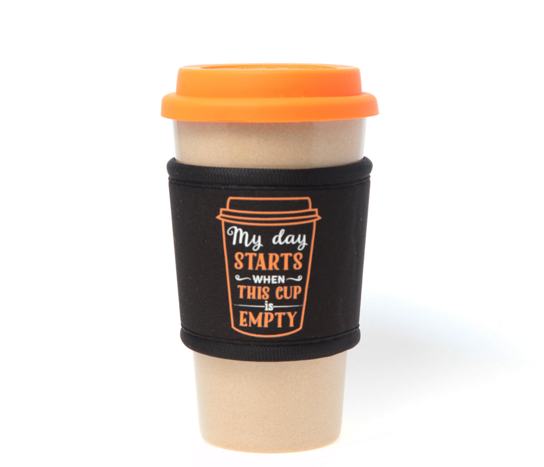 Travel Mug - The Original Eco Travel Mug Made Of Rice Husk With Silicone Lid & Neoprene Message Sleeve - 450ml / My Day