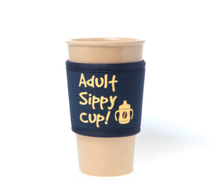 Travel Mug - The Original Eco Travel Mug Made Of Rice Husk With Silicone Lid & Neoprene Message Sleeve - 450ml / Sippy